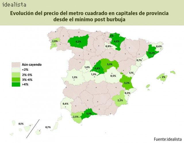 Mapa de la normalización inmobiliaria: solo 5 capitales suben de precio más de un 4% desde mínimos